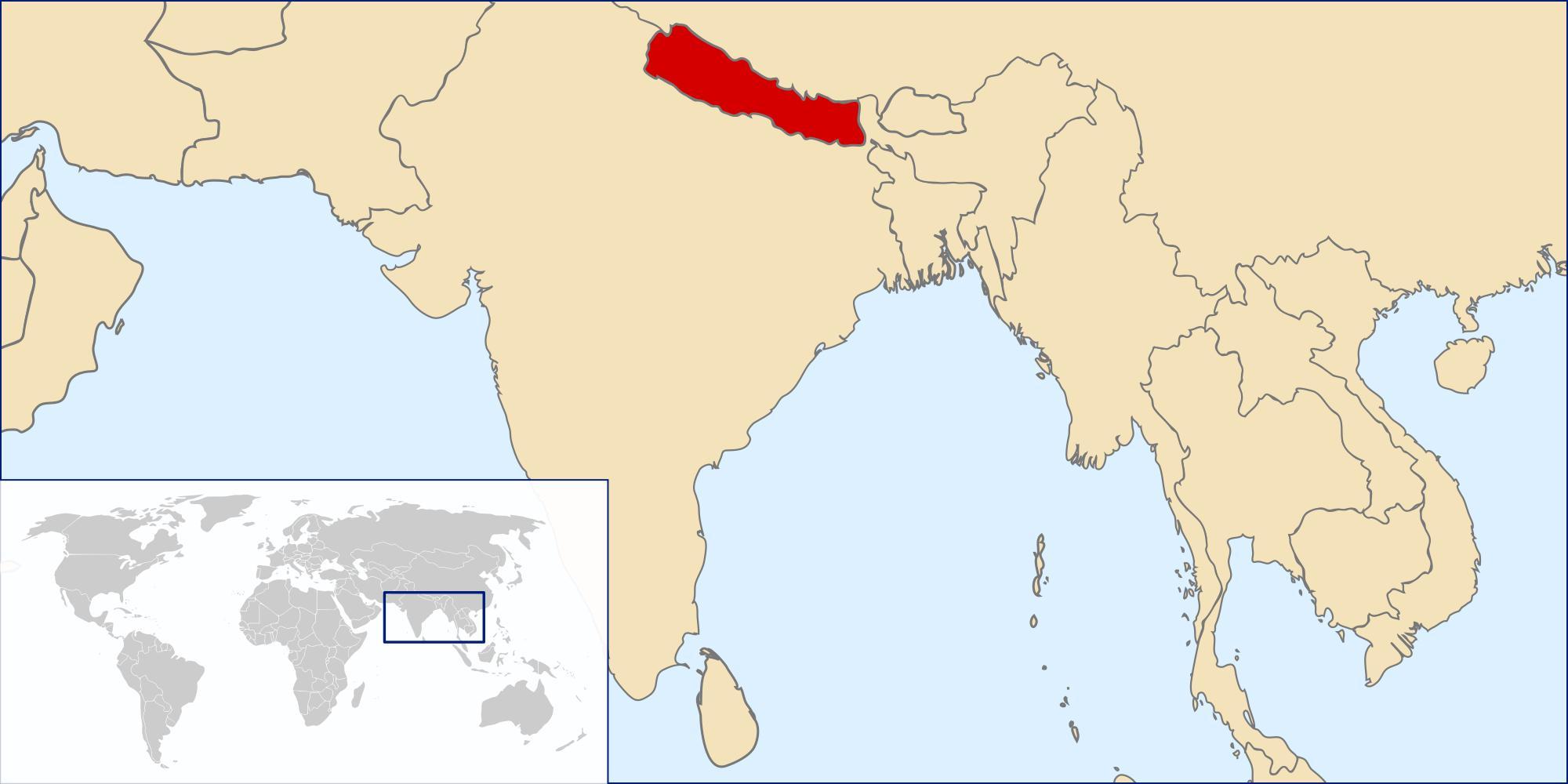 Nepal Locatie Op De Kaart Van De Wereld Kaart Van Nepal Locatie